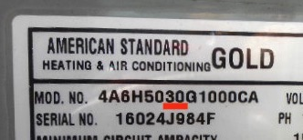 How many tons is my American Standard air conditioner or