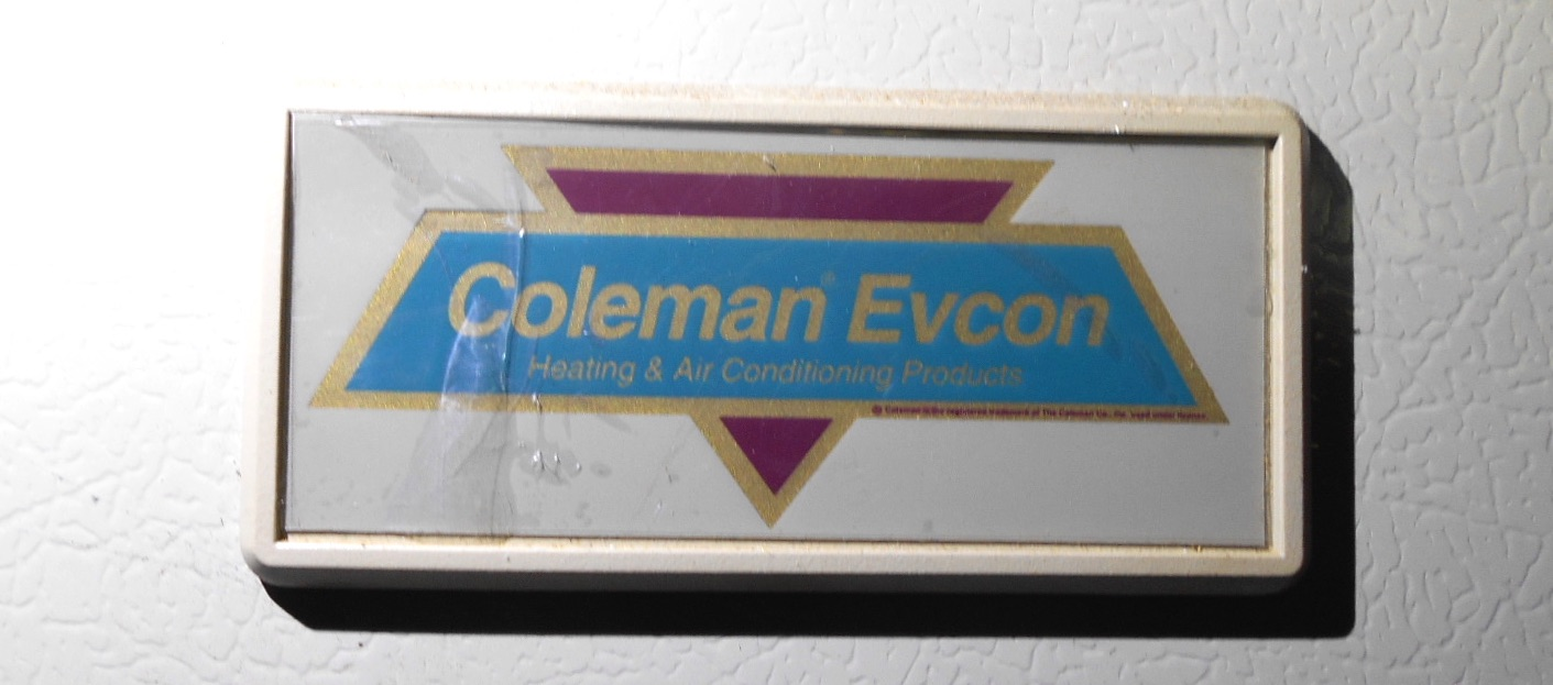 How can I tell the age of a Coleman or Coleman-Evcon air ... Coleman Mobile Home Hvac Units on coleman rooftop units, mobile home air conditioner units, mobile home ac units,