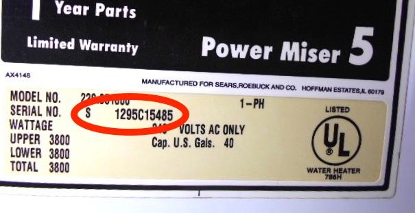 sears water heater serial number lookup