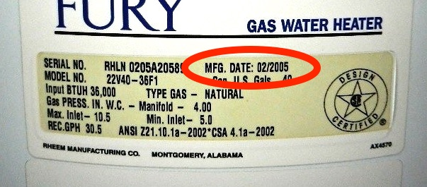 rheem hot water heater serial number lookup