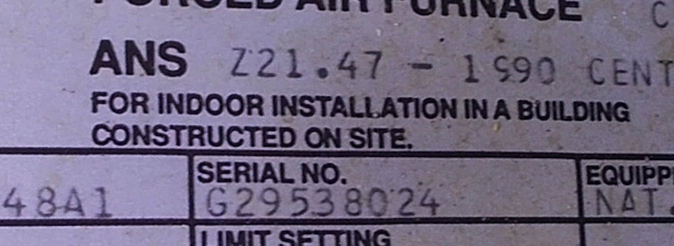 How can I tell the age of a Trane furnace from the serial